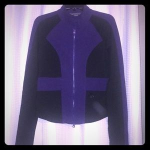 Purple and black Armani Exchange moto sweater!